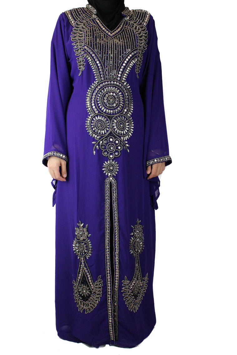 Crystal Embellished Kaftan - Purple