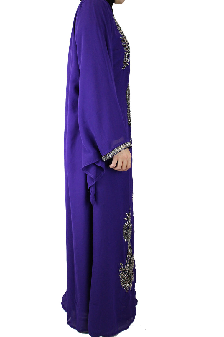hand beaded royal purple long sleeved maxi kaftan with jewels