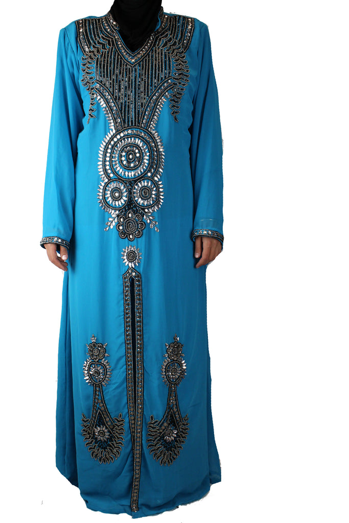 hand beaded cyan long sleeved maxi kaftan with jewels