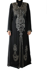 Crystal Embellished Kaftan - Black