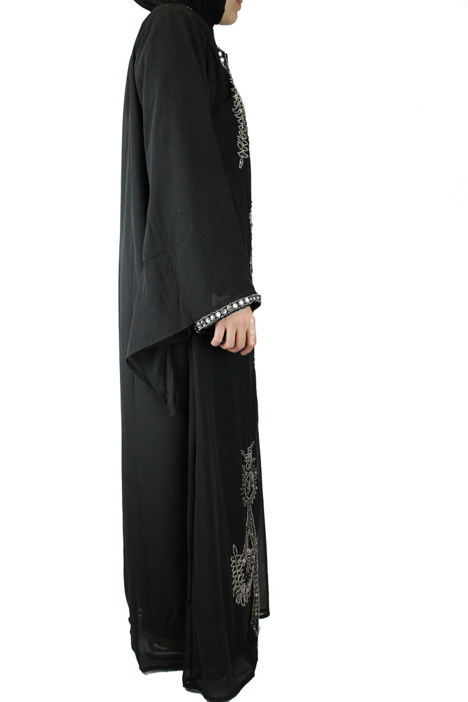hand beaded black long sleeved maxi kaftan with jewels