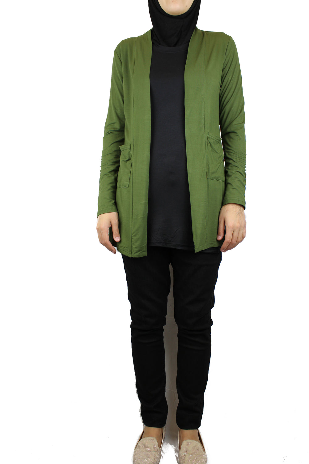 basic olive green long sleeve cardigan with pockets