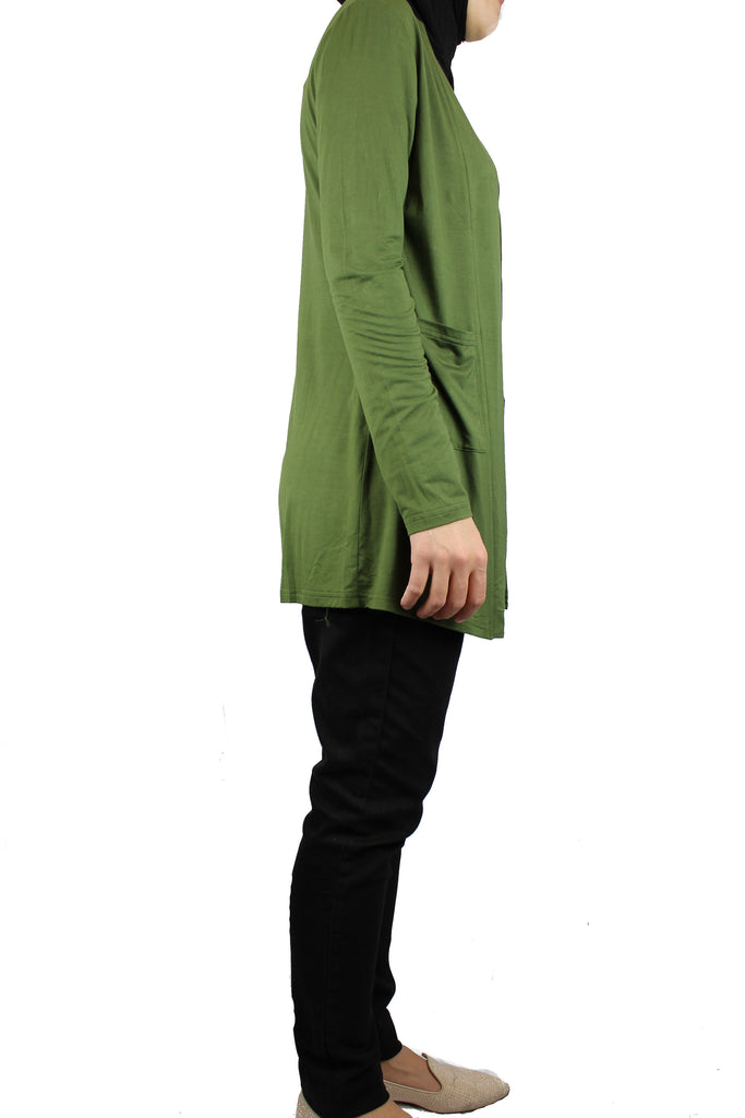Open Front Cardigan with Pockets - Olive Green