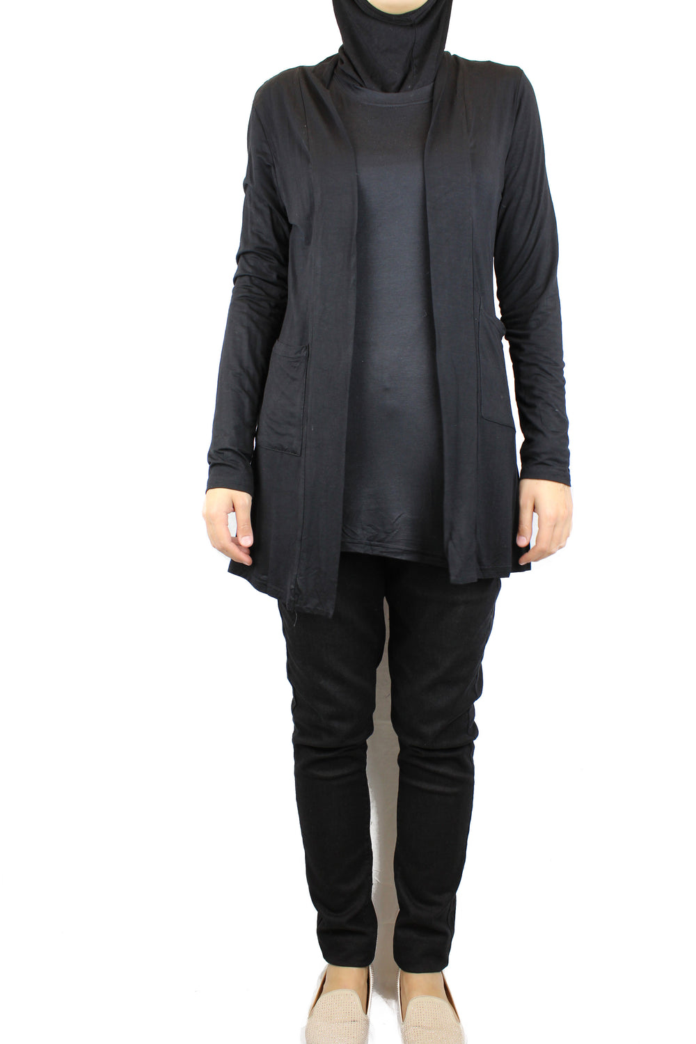 basic black long sleeve cardigan with pockets