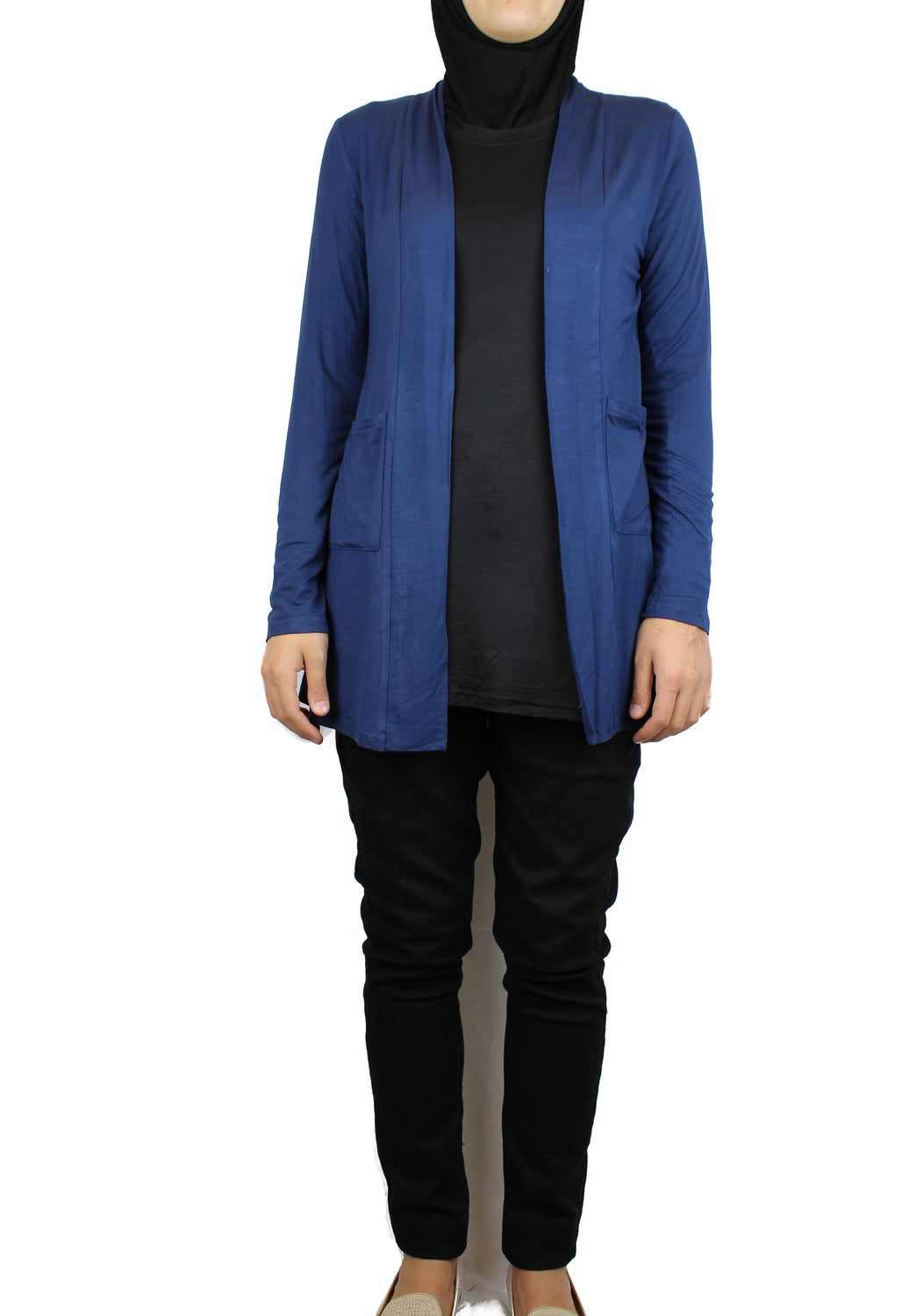 Open Front Cardigan with Pockets - Navy Blue