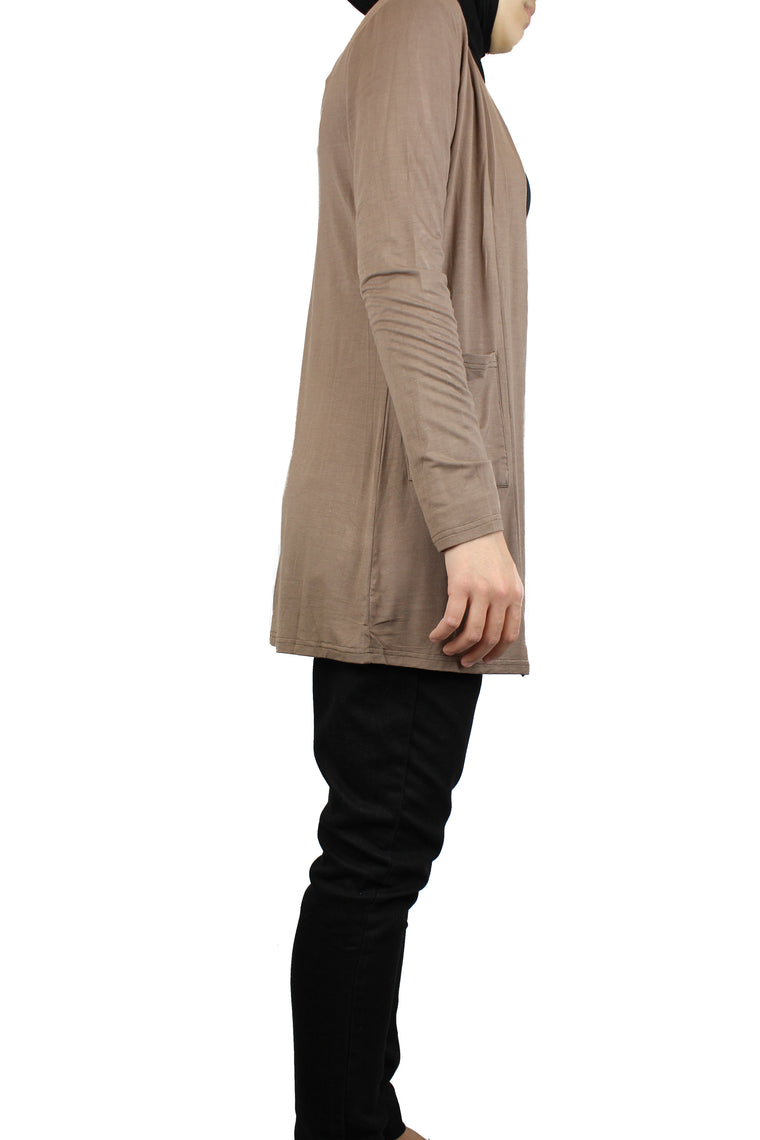basic taupe long sleeve cardigan with pockets