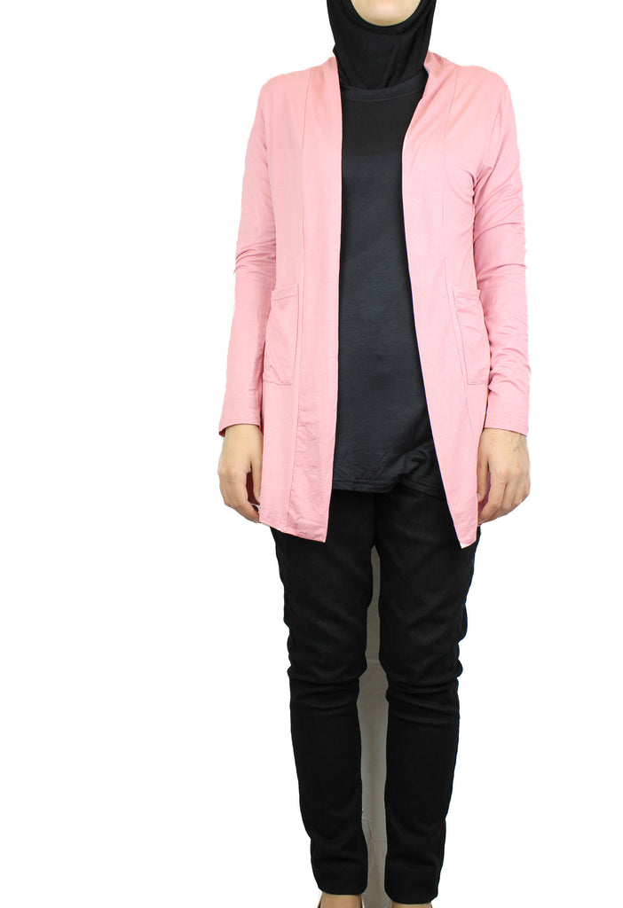 basic pink long sleeve cardigan with pockets