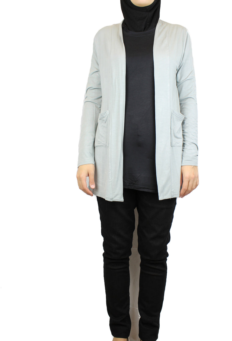 Open Front Cardigan with Pockets - Gray