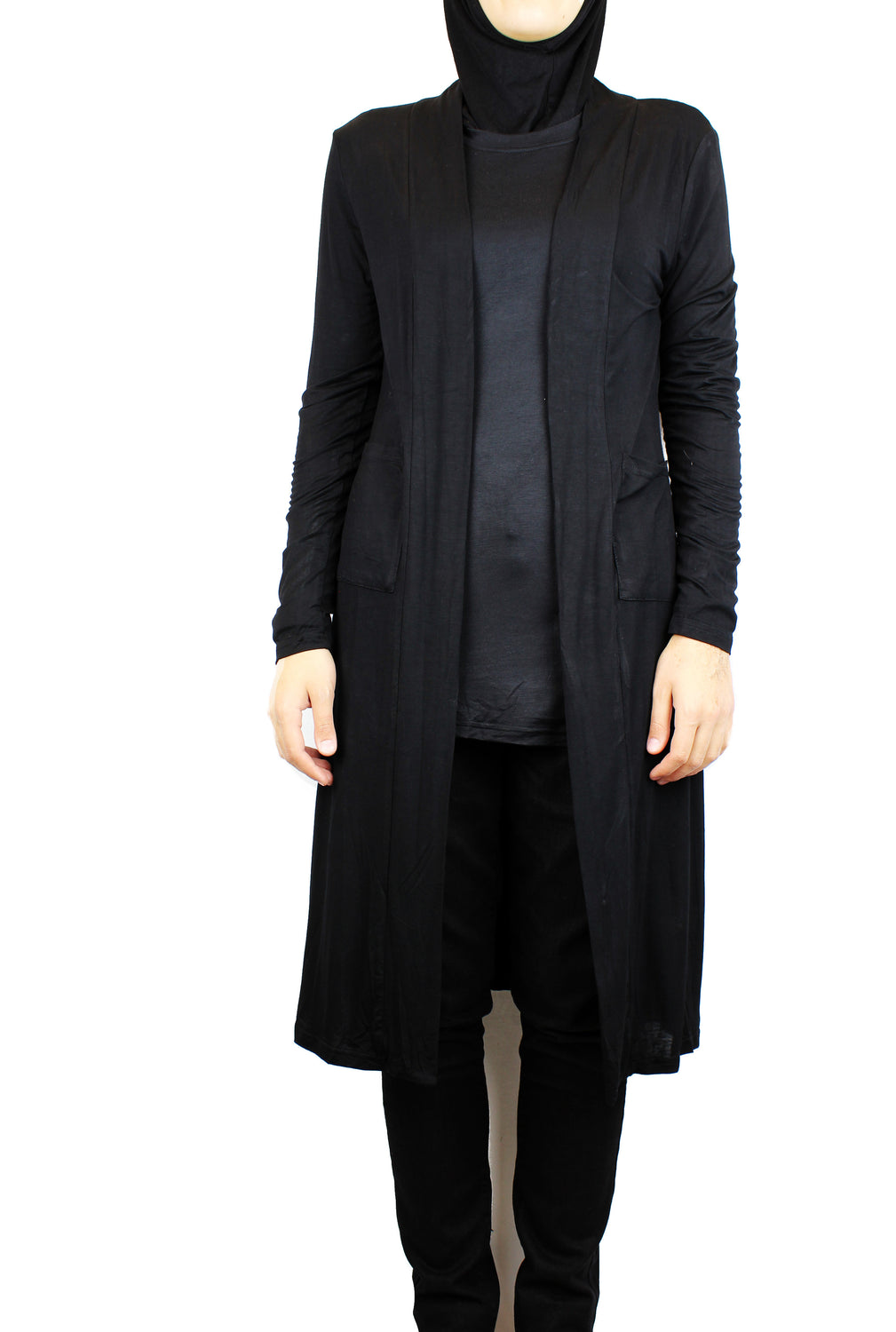 black maxi cardigan with long sleeves and pockets