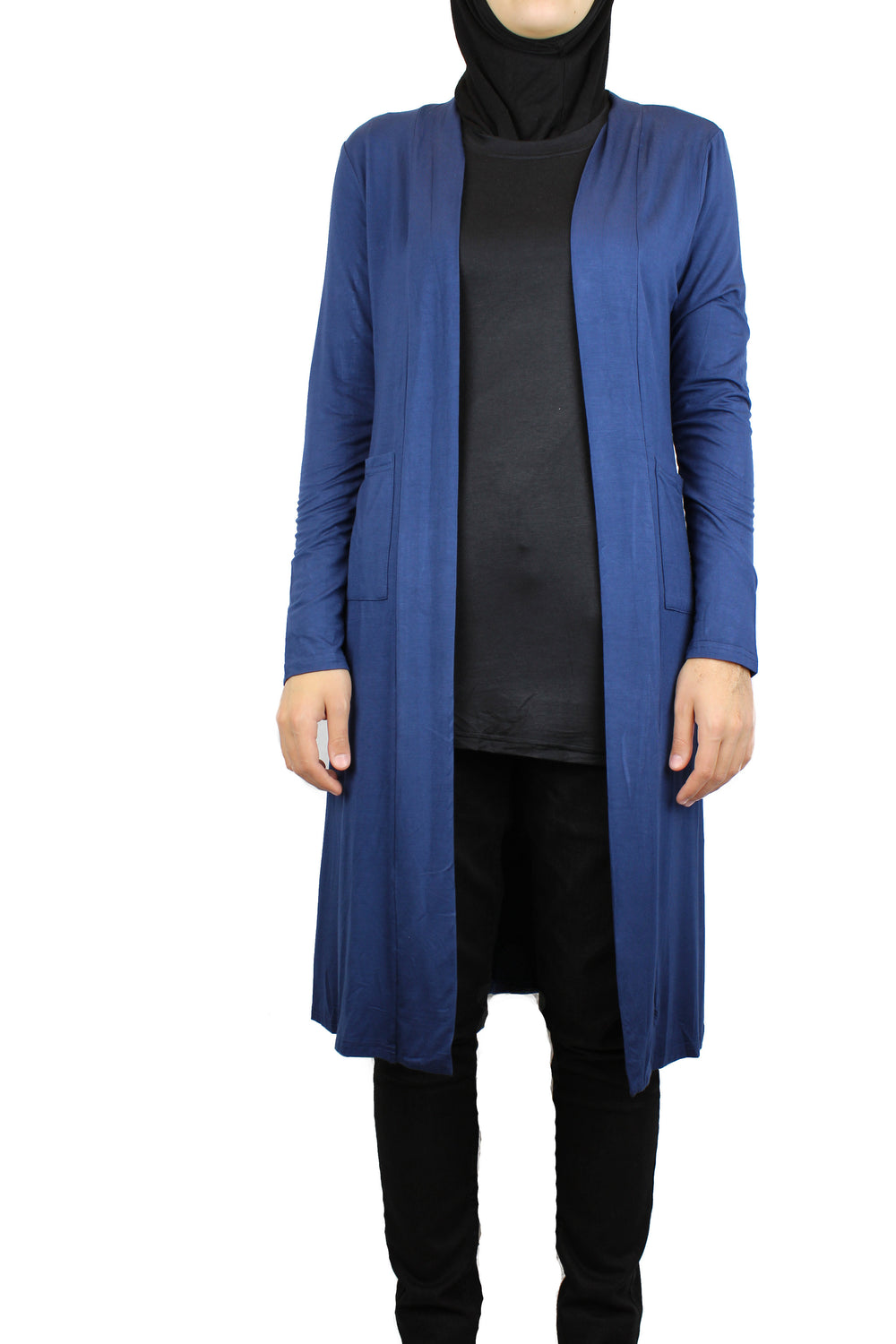 navy blue maxi cardigan with long sleeves and pockets