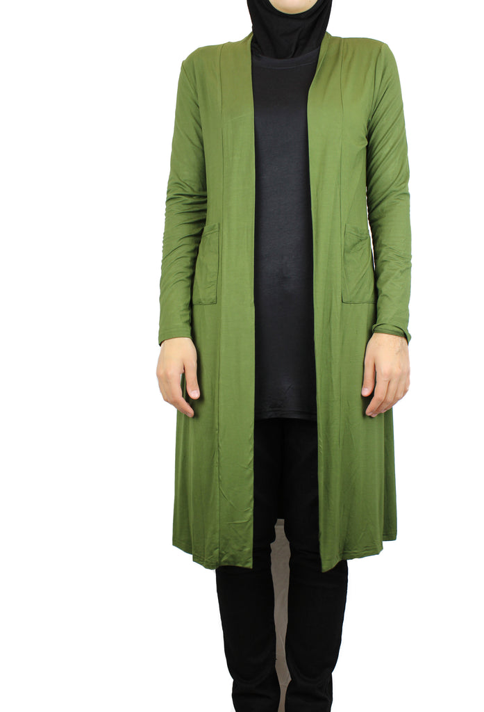 olive green maxi cardigan with long sleeves and pockets