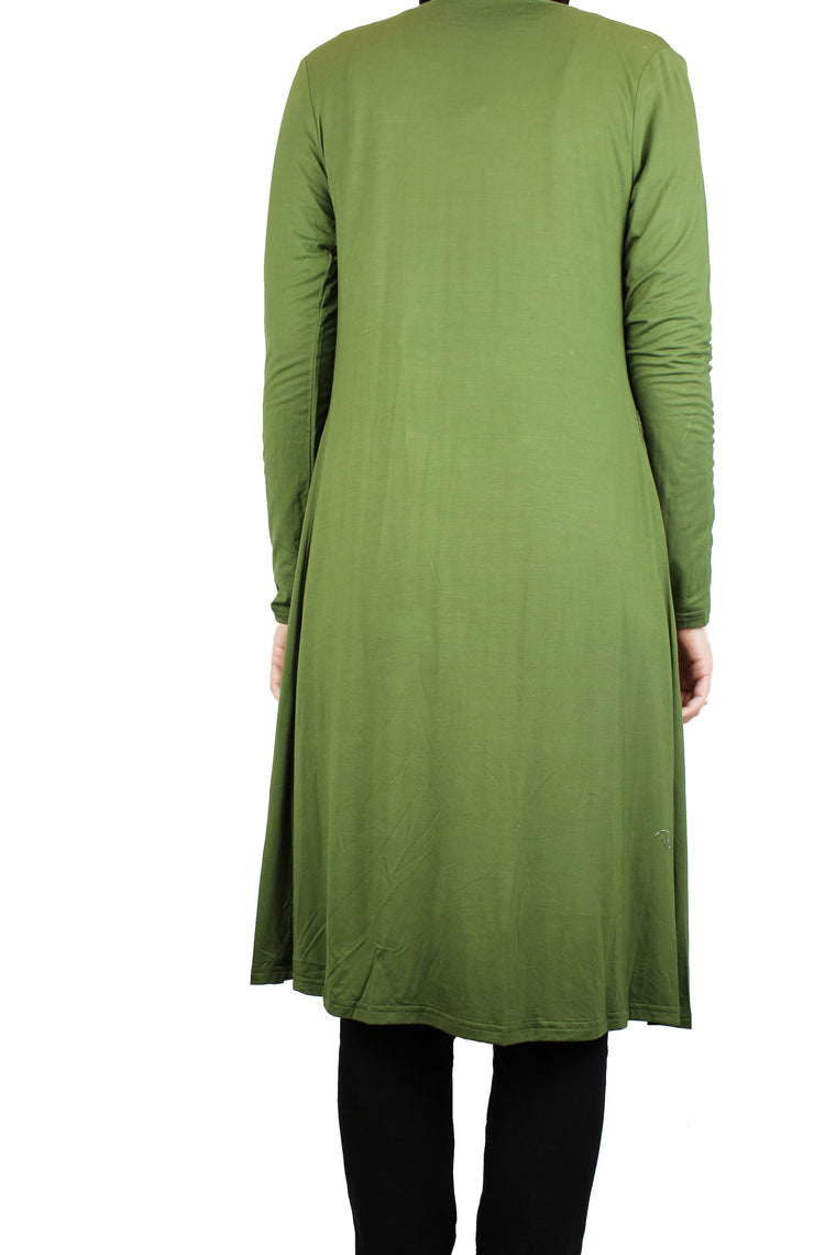 Maxi Open Front Cardigan with Pockets - Olive Green