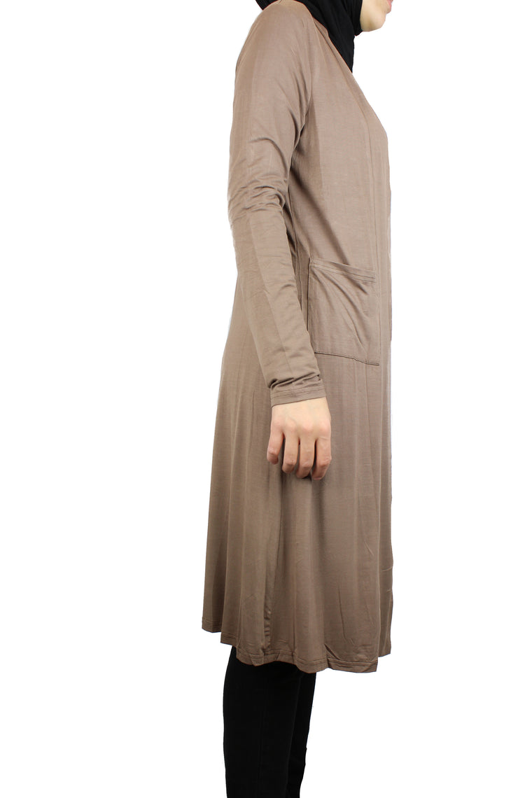 mocha maxi cardigan with long sleeves and pockets