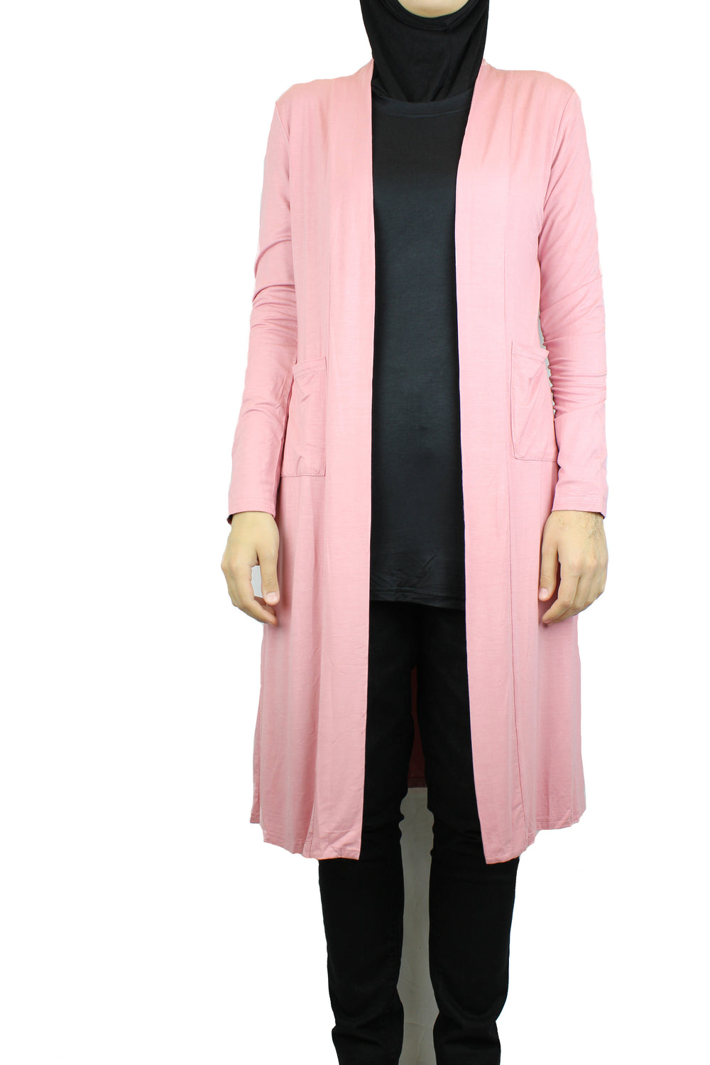 Maxi Open Front Cardigan with Pockets - Cherry Blossom Pink