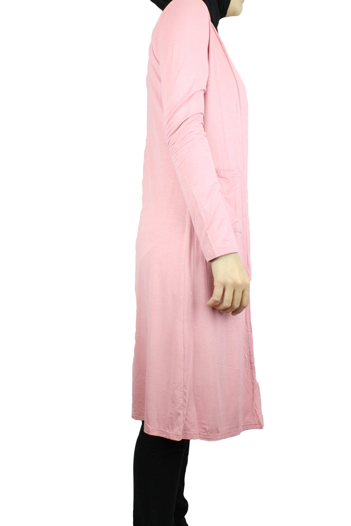 pink maxi cardigan with long sleeves and pockets