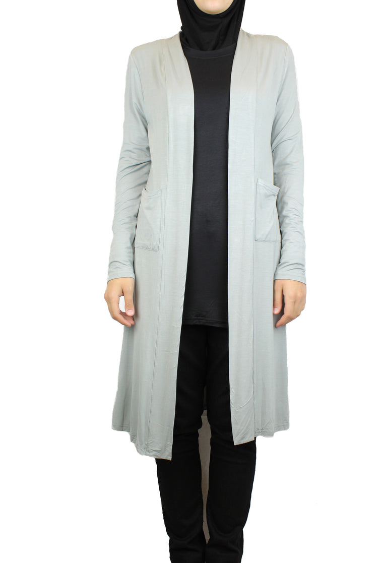 Maxi Open Front Cardigan with Pockets - Gray