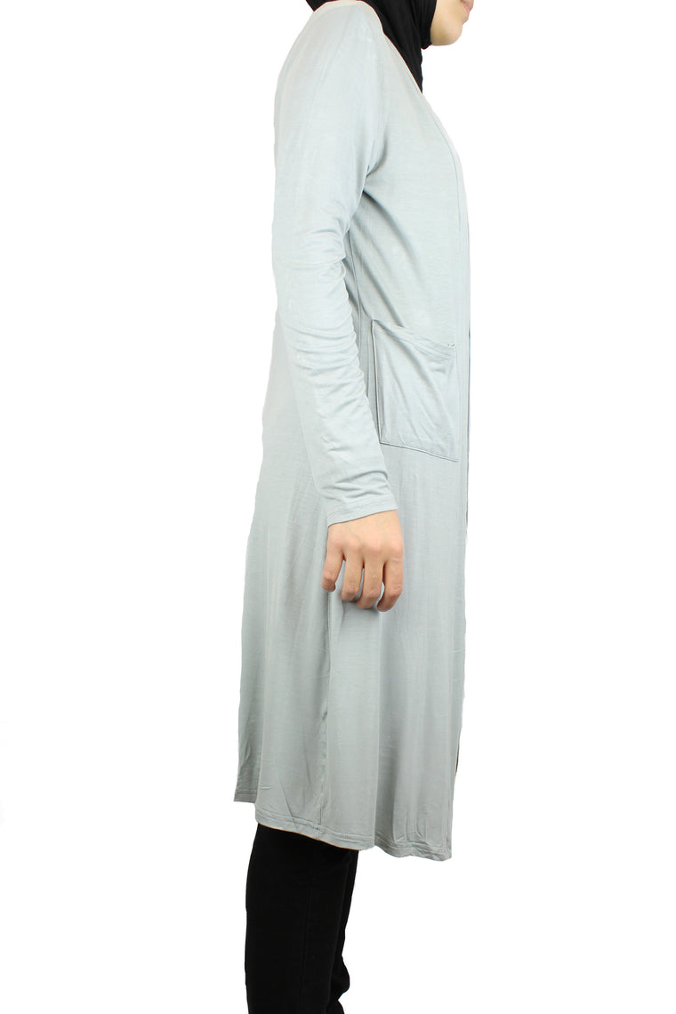 silver maxi cardigan with long sleeves and pockets