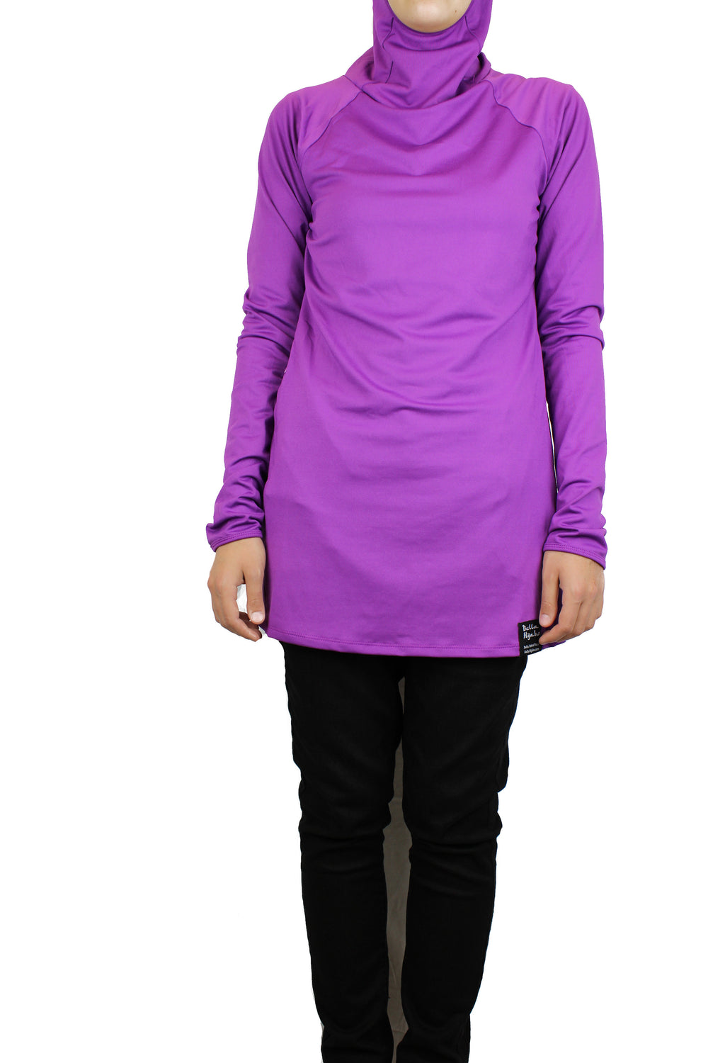 long sleeved workout top in purple with a hijab attached