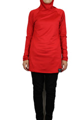 red workout top with long sleeves and a hijab attached