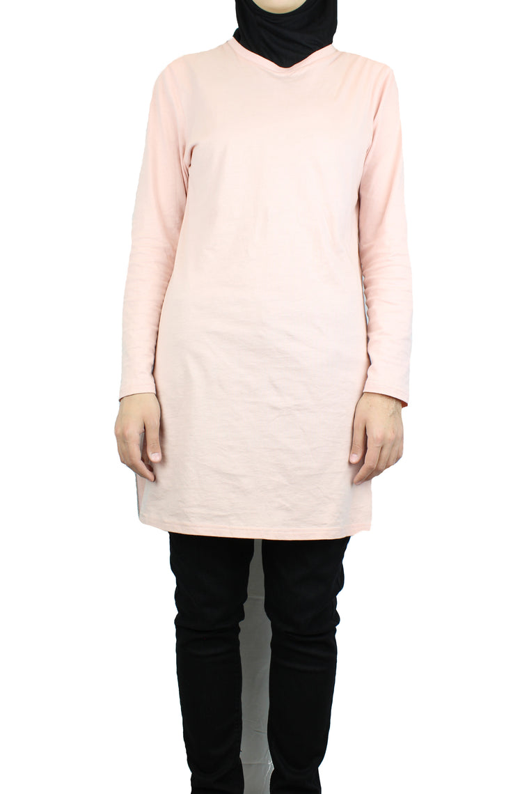 Long T-Shirt with Side Zippers - Soft Pink