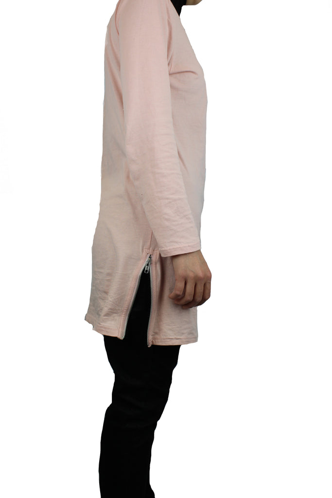 light pink long sleeve women's top with side zippers