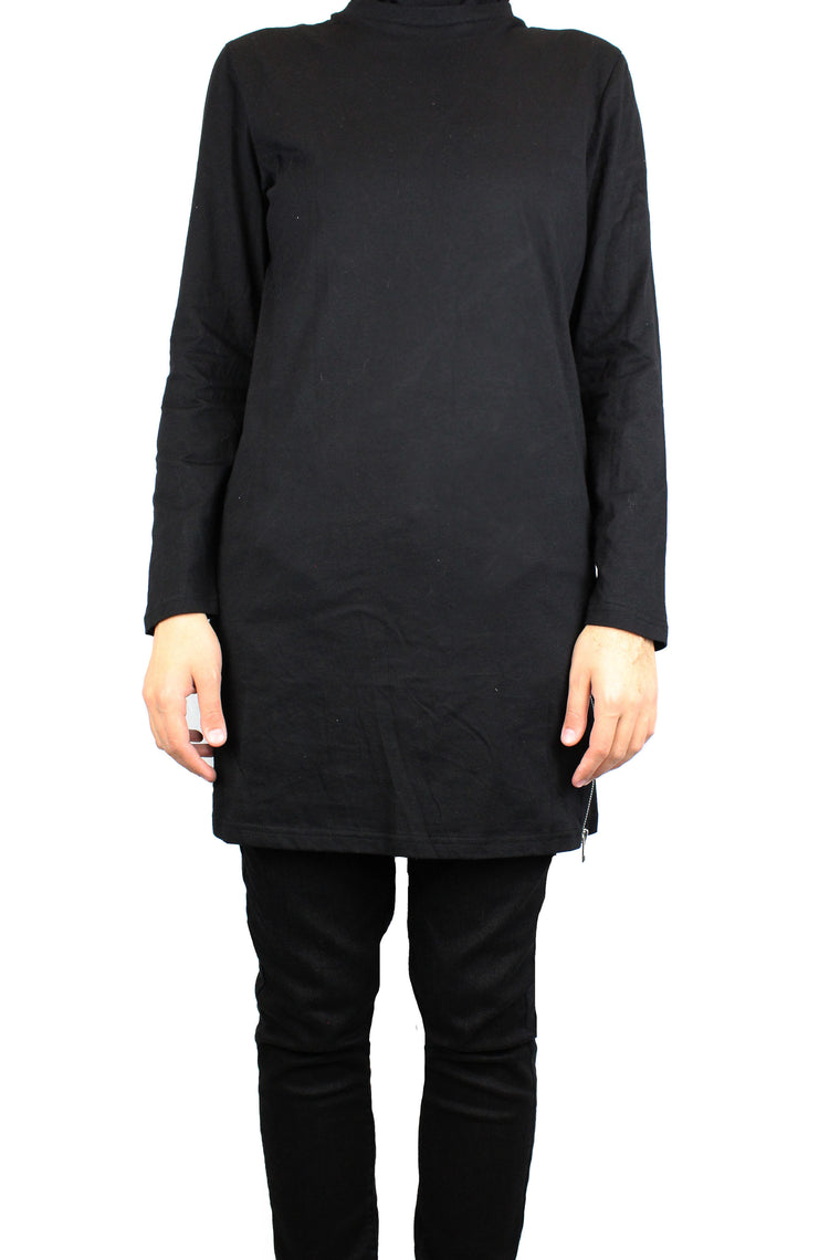 Long T-Shirt with Side Zippers - Black