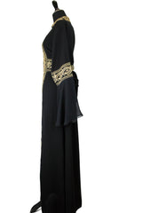 black palestinian thobe with embroidery in gold