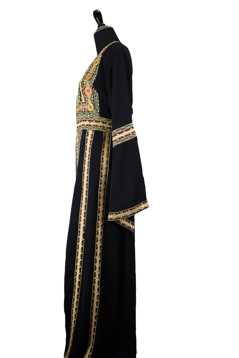 black palestinian thobe with floral embroidery in light pink