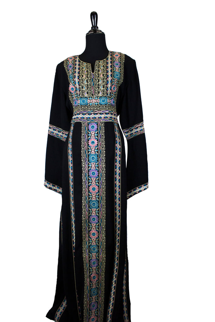 black palestinian thobe with floral embroidery in light blue
