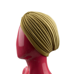 Slip-on Pleated Turban - Gold