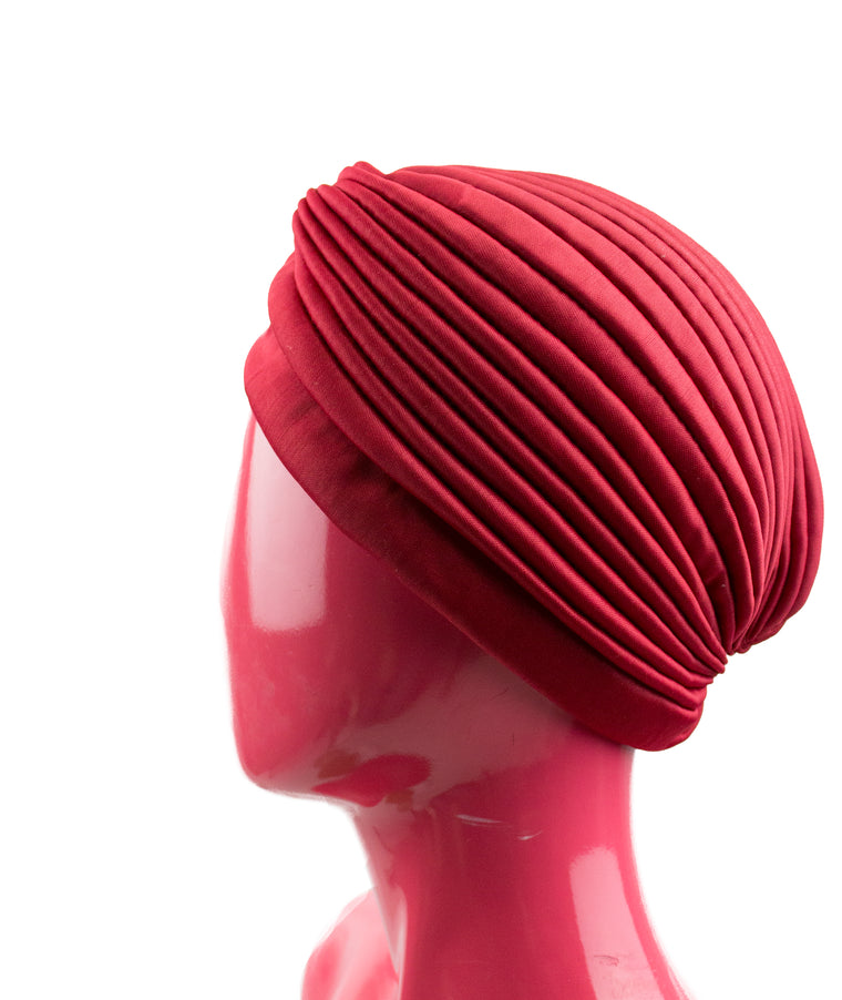 red slip on pleated turban
