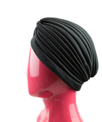 Slip-on Pleated Turban - Black