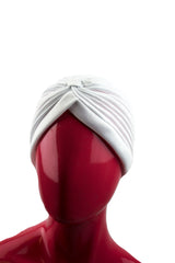 Slip-on Pleated Turban - White