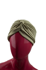 tan slip on pleated turban