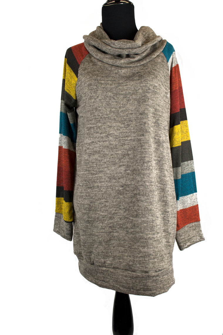 Cowl Neck Striped Sweater - Fall Stripes