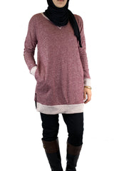 Elbow Patch Sweater - Rustic Red
