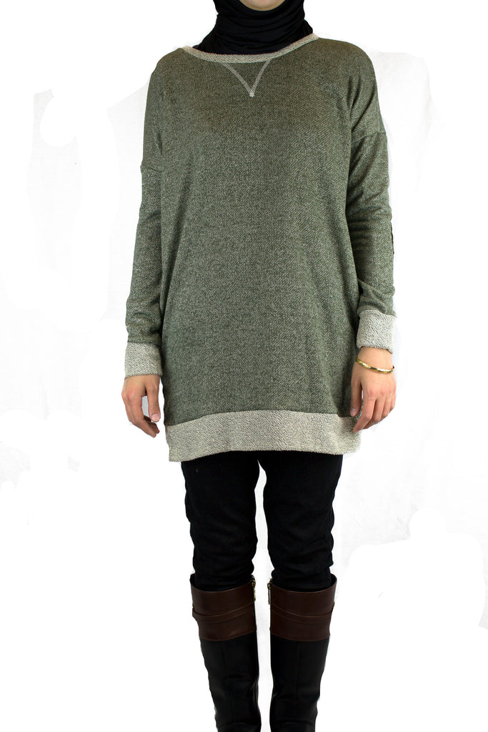 Elbow Patch Sweater - Light Olive
