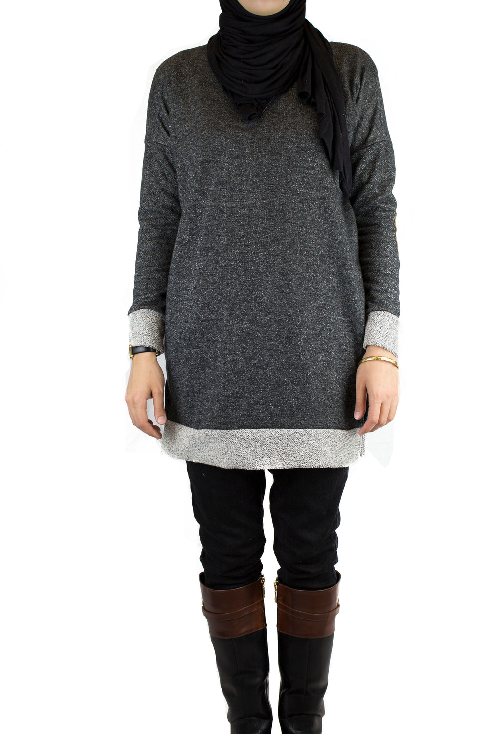 Elbow Patch Sweater - Black
