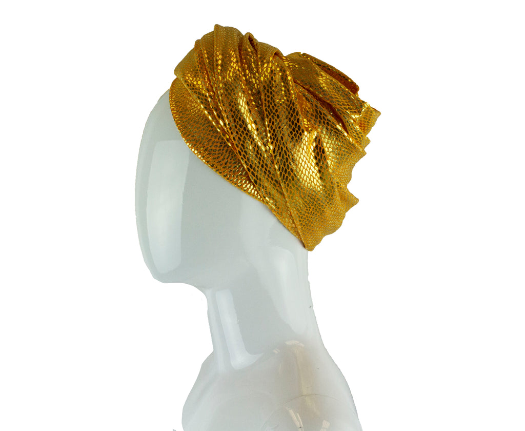 turban wrap in yellow and metallic gold