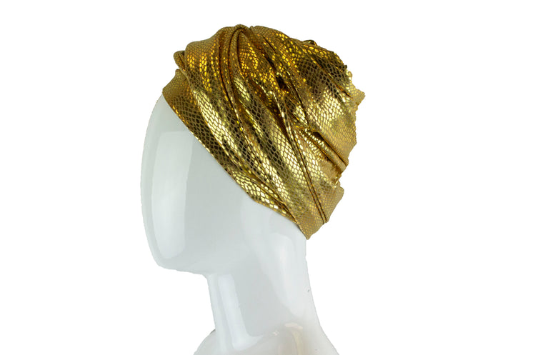 Gold Metallic Turban Wrap - Yellow