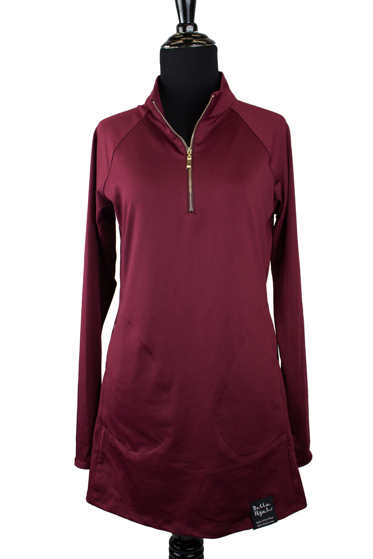 Attivo Half-Zip Workout Top - Maroon