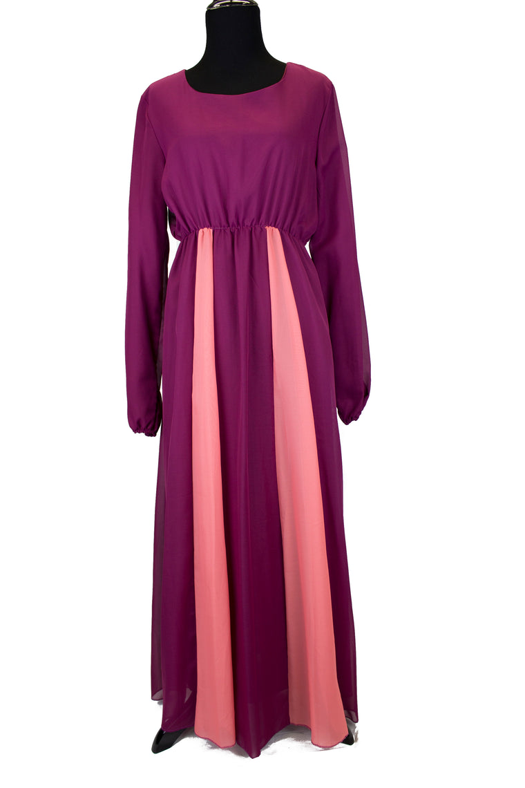 purple long sleeve maxi dress with pleats in pink