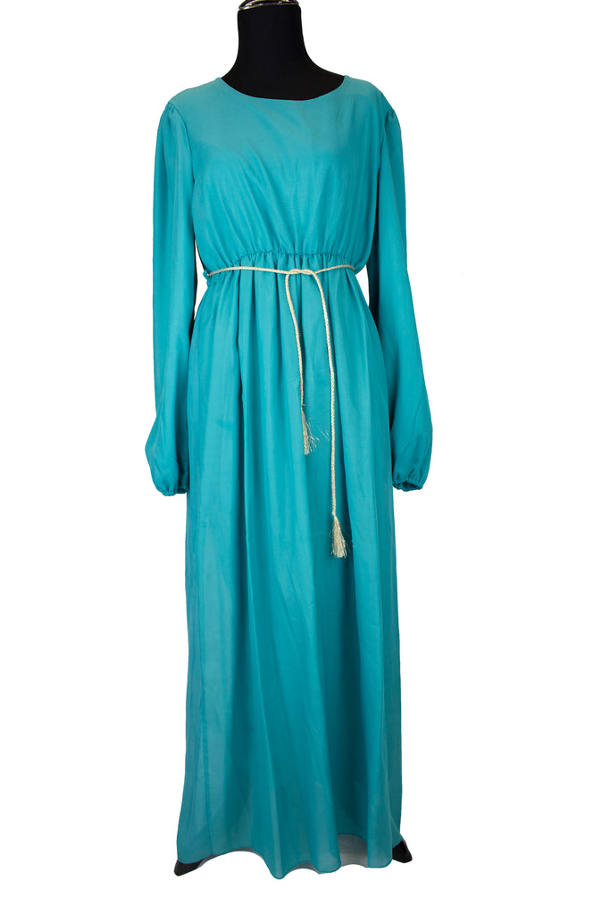 Solid Maxi Dress w/ Gold Belt