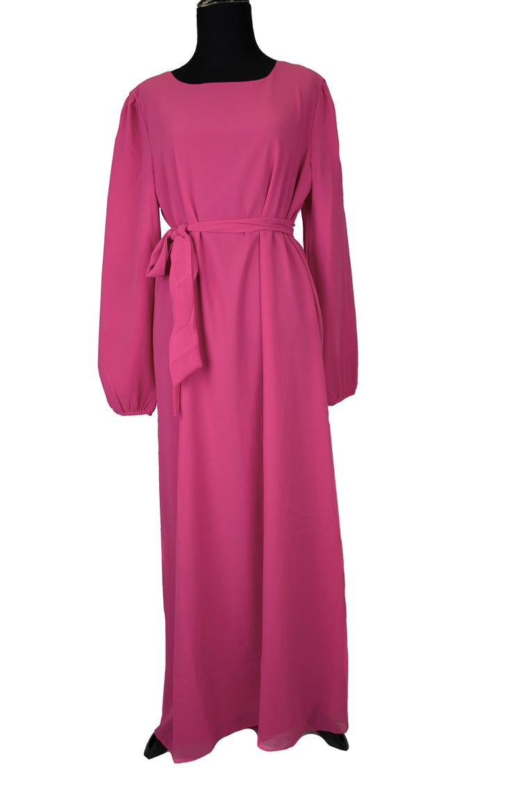 Solid Maxi Dress w/ Matching Belt