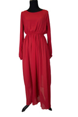Long Sleeve Maxi Dress - Red