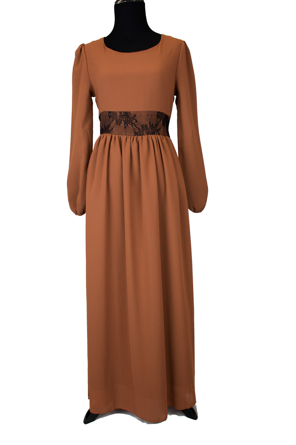 Maxi Dress with Lace Detail & Matching Belt