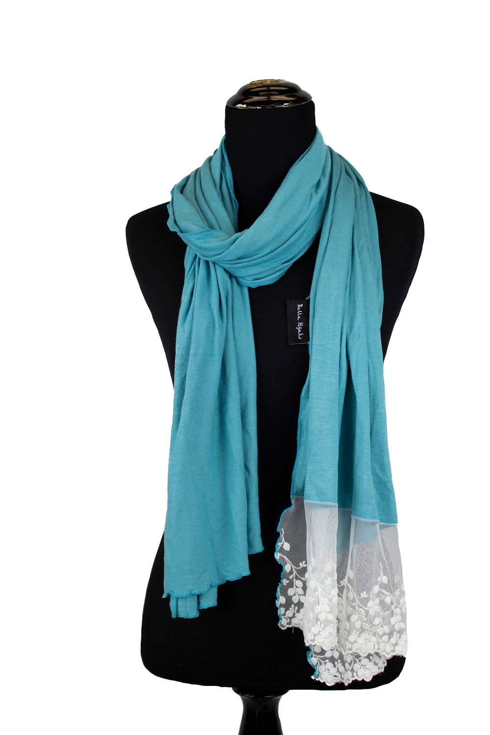 jersey hijab in seafoam blue with white lace