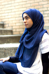Ridged Hijab - Navy