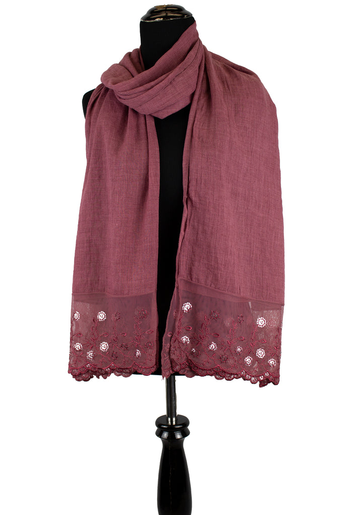 Sequin Lace Hijab - Dusty Red  (Daisy Sequin)
