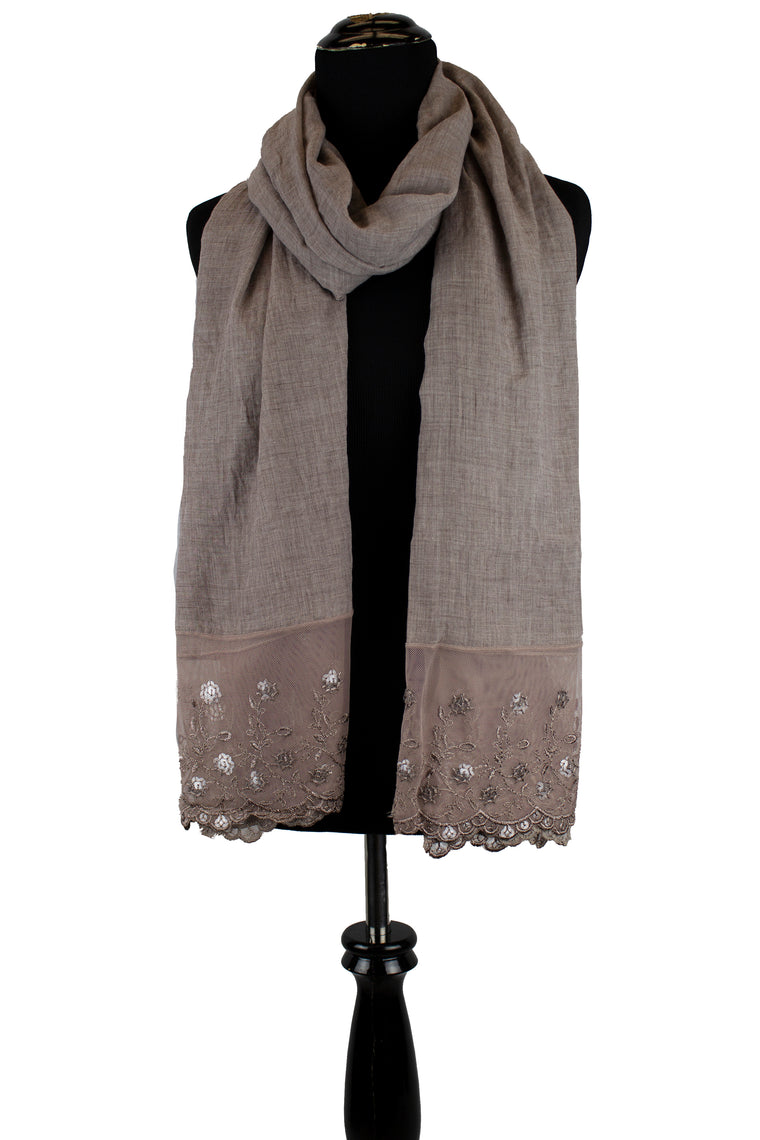 taupe viscose hijab with lace on the ends embellished with sequins
